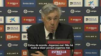 """Imagem de visualização para Carlo Ancelotti: """"Não jogamos bem e merecíamos perder"""""""