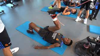 Preview image for Behind The Scenes: The hard training of Marcelo, Rodrygo, Casemiro, Vinícius Jr. and Eder Militão with Real Madrid
