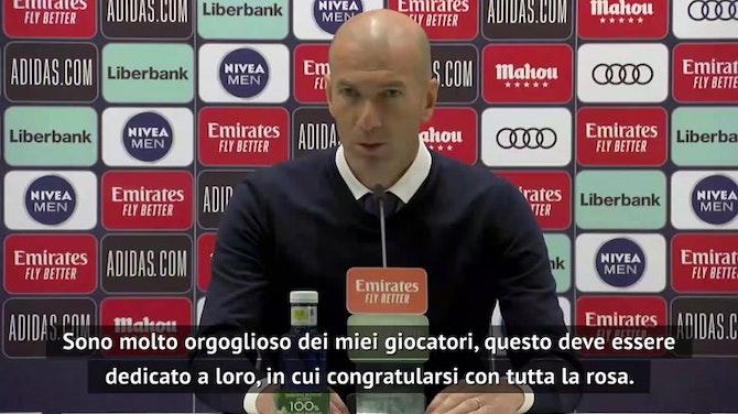 """Zidane: """"Complimenti all'Atletico, ha meritato. Futuro? Parlerò col Real, ma non ora"""""""