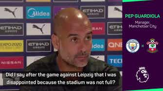 Preview image for Guardiola refuses to apologise after plea for more fans