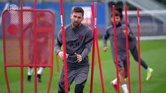 Preview image for Exclusive: Leo Messi's training session before the clash vs Leipzig