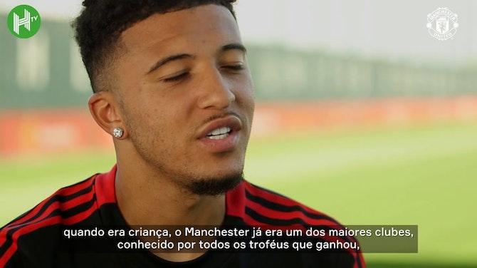 """Imagem de visualização para Sancho diz realizar sonho no Manchester United: """"É uma honra vestir essa camisa"""""""
