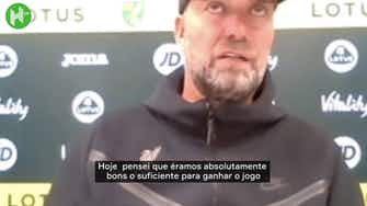 """Imagem de visualização para Klopp elogia equipe após vitória contra o Norwich: """"Feliz em jogar como jogamos"""""""