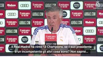 """Anteprima immagine per Ancelotti punge Ceferin: """"Perez incompetente? E allora gli altri cosa sono?"""""""