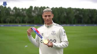 Preview image for Richarlison shows off Olympic gold medal at Everton training