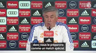 """Image d'aperçu pour Clásico - Ancelotti : Je ne suis jamais terrifié par un match"""""""