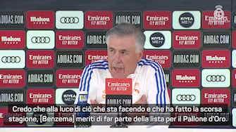"""Anteprima immagine per Ancelotti: """"Benzema è come il vino, gioca sempre meglio. Sul Pallone d'Oro..."""""""
