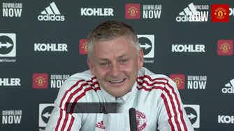 Preview image for Solskjaer laughs off reports of Ronaldo complaints