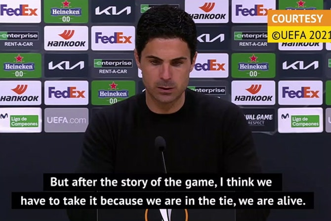 Arteta relieved tie is 'alive' as Arsenal escape Villarreal with away goal