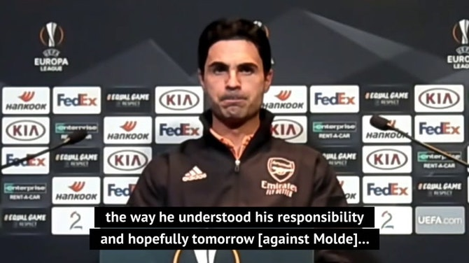Preview image for Pepe has Arteta's 'full support' despite headbutt incident