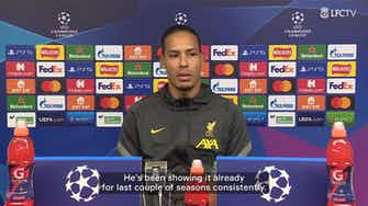 Preview image for Van Dijk on Salah's Ballon d'Or chances: 'He's up there'