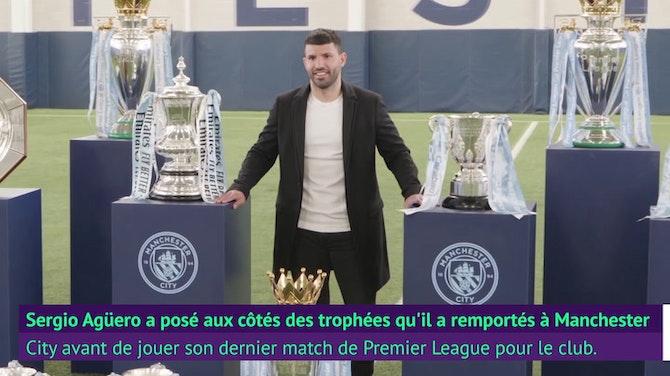Image d'aperçu pour Man City - Agüero pose avec ses trophées avant de partir