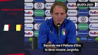 """Anteprima immagine per Mancini non ha dubbi: """"Jorginho merita il Pallone d'Oro"""""""