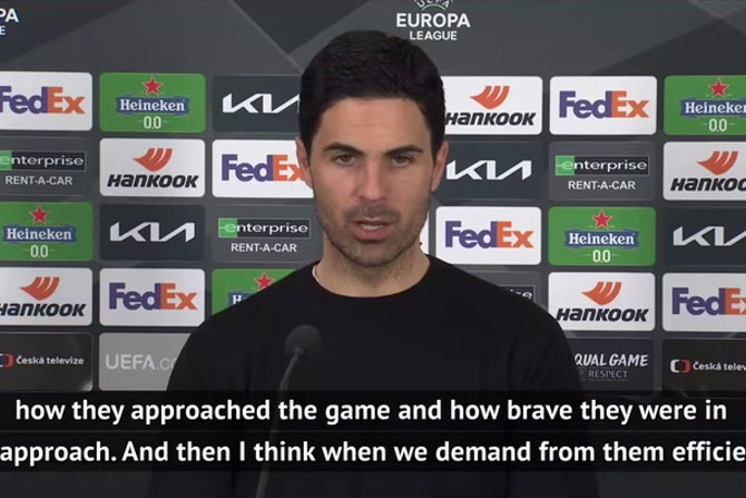 Arteta delighted with Arsenal 'efficiency' as they hammer Slavia