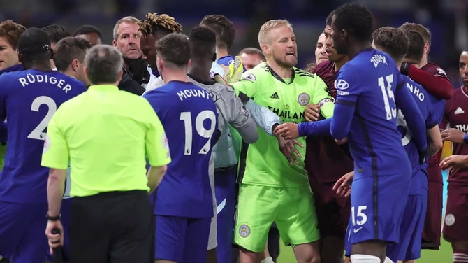 Chelsea and Leicester players involved in huge brawl