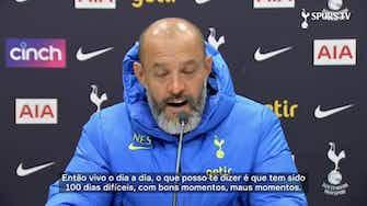 Imagem de visualização para Nuno Espírito Santo fala sobre 100 primeiros dias no Tottenham e analisa duelo com Newcastle