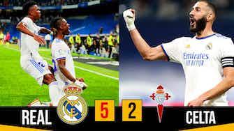 Image d'aperçu pour Triple de Benzema, Vinicius en feu et 1er but de Camavinga !!  Real Celta (5-2)