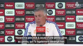 """Image d'aperçu pour 5e j. - Ancelotti : """"Difficile pour Hazard d'enchaîner les matches"""""""