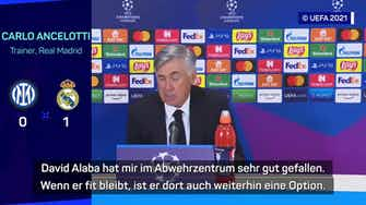 Vorschaubild für Ancelotti lobt Alabas Leistung im Abwehrzentrum