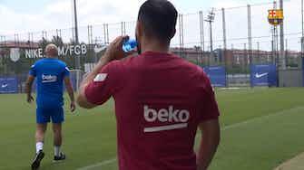 Imagem de visualização para Agüero faz primeiro treino no Barcelona; veja como foi