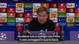 """Anteprima immagine per Klopp 'spaventato' dal Milan: """"Quarta fascia? Divertente..."""""""