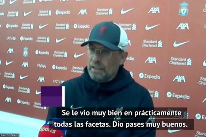 Klopp, feliz tras el primer gol de Thiago con el Liverpool