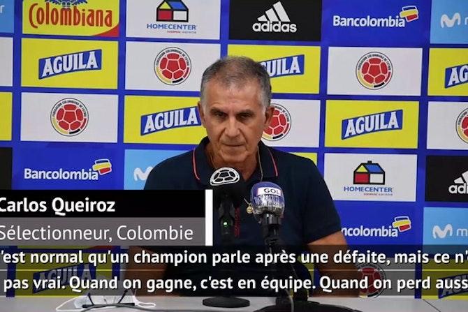 """Élim. Coupe du monde 2022 - Queiroz répond à James : """"Que les joueurs restent calmes"""""""