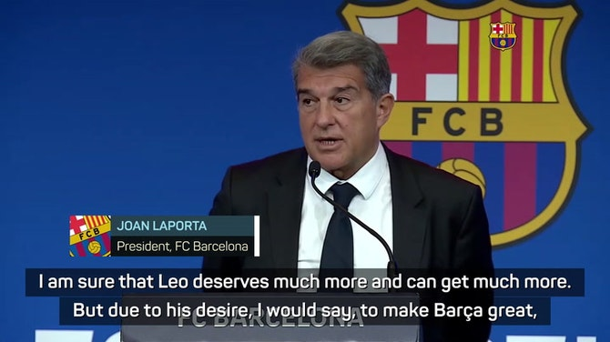Preview image for Barca president Laporta has 'moderate optimism' on Messi contract renewal