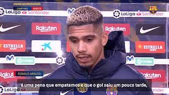 Imagem de visualização para Ronald Araújo lamenta empate do Barça, apesar de gol no último minuto