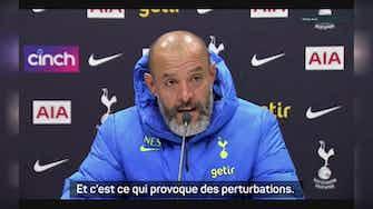 """Image d'aperçu pour Tottenham - Nuno Espirito Santo sur les trèves internationales : """"Ça cause beaucoup de problèmes"""""""