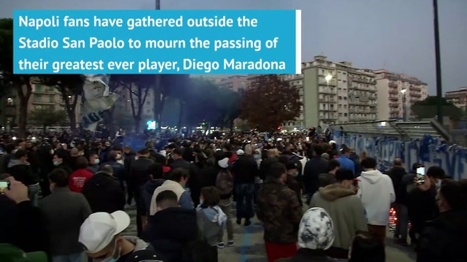 Preview image for Napoli fans gather outside Stadio San Paolo to mourn Maradona