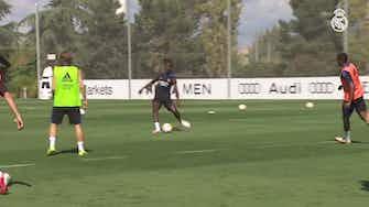 Preview image for Eduardo Camavinga in training ahead of Valencia clash