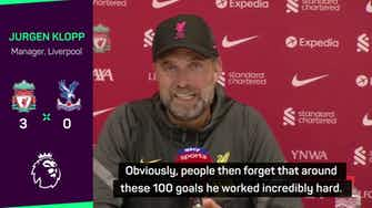 Preview image for Klopp hails Mane's 'massive achievement' of 100 goals for Liverpool