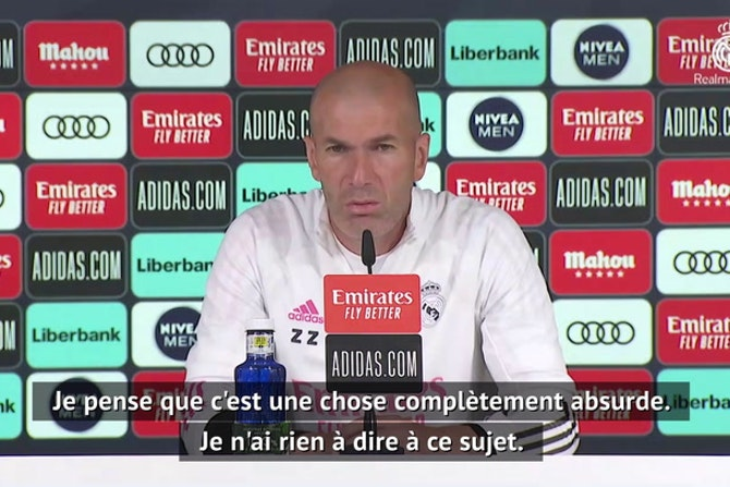 """Super Ligue - Zidane : """"Ce serait une absurdité d'être exclu de la Ligue des Champions"""""""