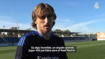 Imagen de vista previa para Luka Modrić: 'Jugar 400 partidos con el Real Madrid es una felicidad tremenda'