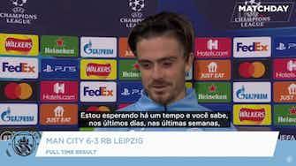 Imagem de visualização para Grealish comemora sua estreia na Champions com golaço e goleada do City