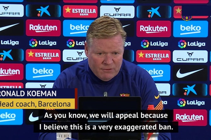 Koeman vows to appeal 'exaggerated' two-match touchline ban