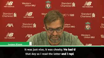 Preview image for Klopp enjoyed replying to 'cheeky' Man United fan letter