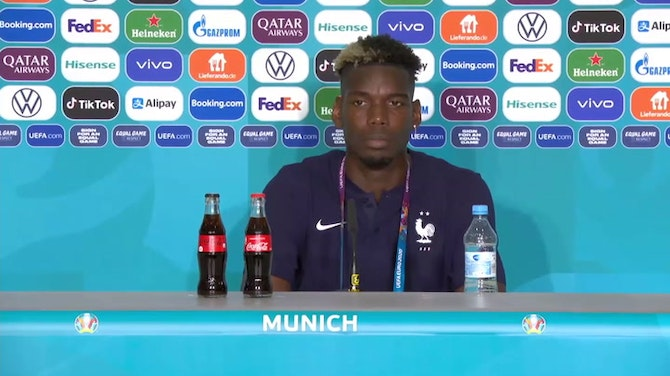 Pogba channels Ronaldo and removes Heineken bottle in news conference