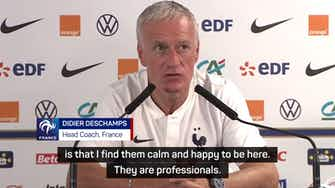 Preview image for Deschamps confirms Griezmann and Mbappe are 'happy' amid transfer speculation