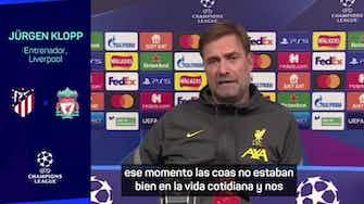 """Imagen de vista previa para La disculpa de Klopp por sus críticas al Atlético: """"No podría respetar más lo que hace Simeone"""""""