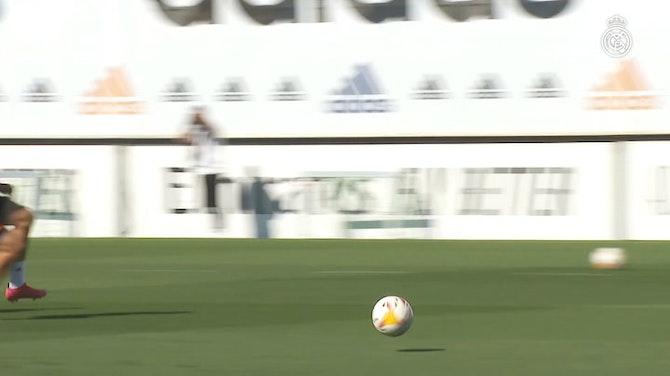 Imagen de vista previa para Gareth Bale, Luka Modrić y Lucas Vázquez realizaron ejercicios de posición en Ciudad Real Madrid