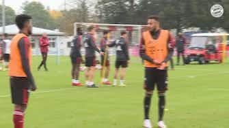 Vorschaubild für Coman, Tolisso and Hernandéz im Training der Bayern