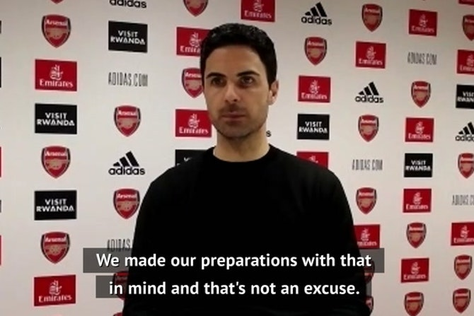 Arsenal didn't lose because of fan protests - Arteta