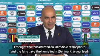 Preview image for Belgium were left 'shell-shocked' by emotion from Denmark fans – Martinez