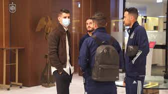 Preview image for Behind the scenes: Morata greets Spain teammates in Italy