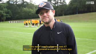 Preview image for Singer Niall Horan surprises Wayne Rooney at Derby training