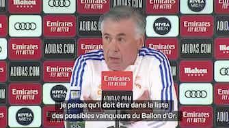 Image d'aperçu pour Real - Pour Ancelotti, Benzema mérite le Ballon d'Or