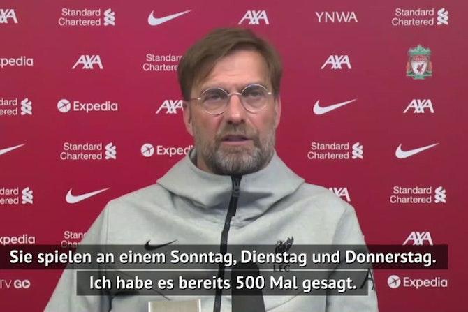 """Klopp sauer über Spielplan: """"Ein Verbrechen"""""""