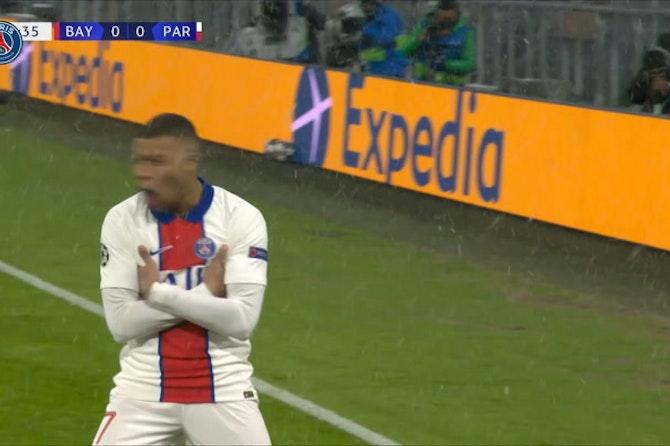 Kylian Mbappé marca duas vezes pelo PSG contra o Bayern de Munique